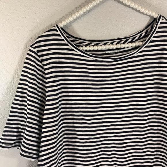 Talbots 1X plus size stripe basic tee navy white